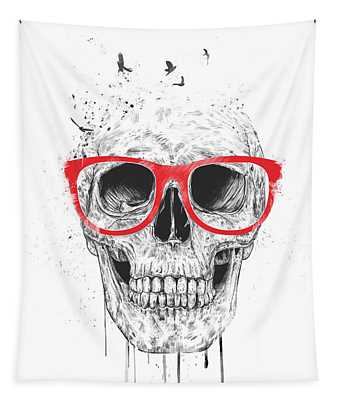 Skull With Red Glasses Tapestry