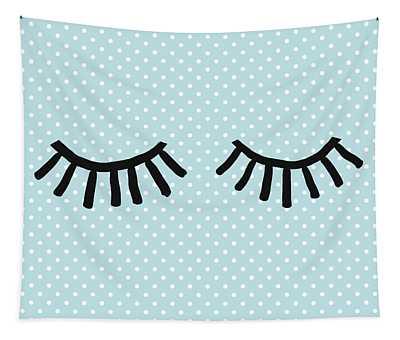 Sleepy Eyes And Polka Dots Blue- Art By Linda Woods Tapestry
