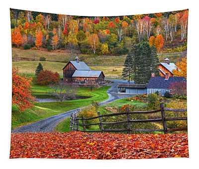 Sleepy Hollows Farm Woodstock Vermont Vt Autumn Bright Colors Tapestry