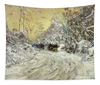 Sleigh Ride In Central Park Tapestry