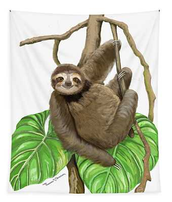 Hanging Three Toe Sloth  Tapestry