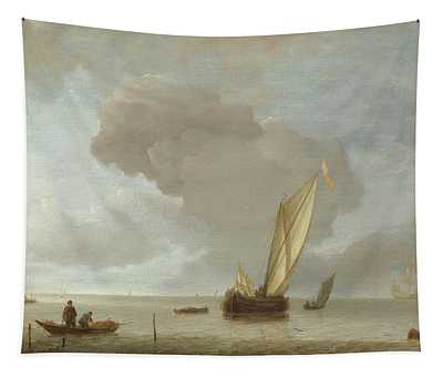 Small Dutch Vessel Before A Light Breeze  Tapestry