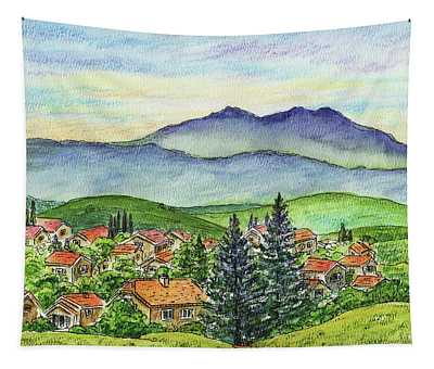 Small Town Mountains And Hills Tapestry
