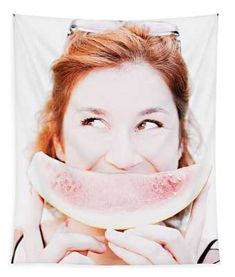 Smiling Summer Snack Tapestry