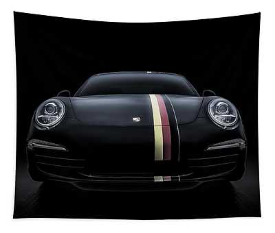 Black Porsche 911 Tapestry
