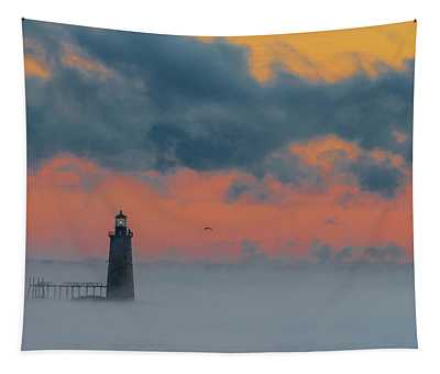 Smokey Sunrise At Ram Island Ledge Light Tapestry