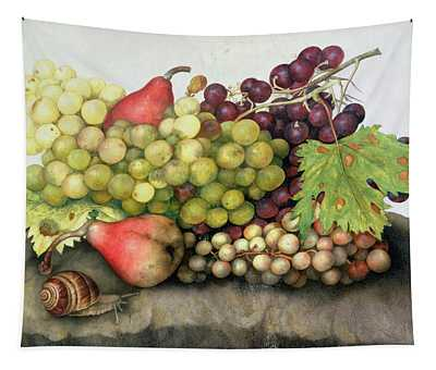 Snail With Grapes And Pears Tapestry