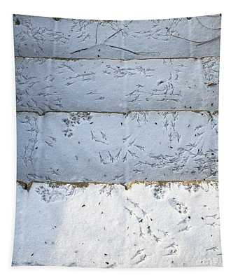 Snow Bird Tracks Tapestry