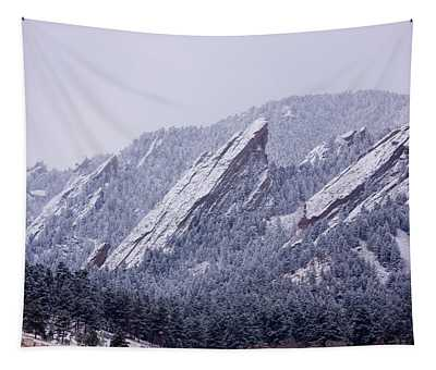Snow Dusted Flatirons Boulder Colorado Tapestry
