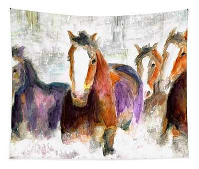 Snow Horses Tapestry