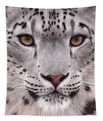Snow Leopard Face Tapestry