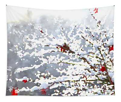 Tapestry featuring the digital art Snow On The Maple by Shelli Fitzpatrick