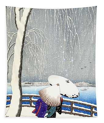 Snow On Willow Bridge By Koson Tapestry