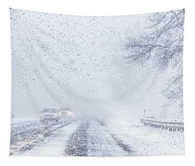 Snow Squall Driving In Canada Tapestry