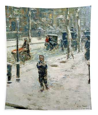Snow Storm On Fifth Avenue Tapestry