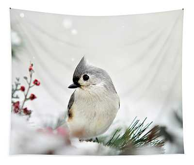 Snow White Tufted Titmouse Tapestry