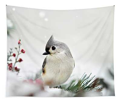 Tapestry featuring the photograph Snow White Tufted Titmouse by Christina Rollo