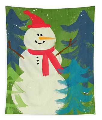 Snowman In Red Hat-art By Linda Woods Tapestry