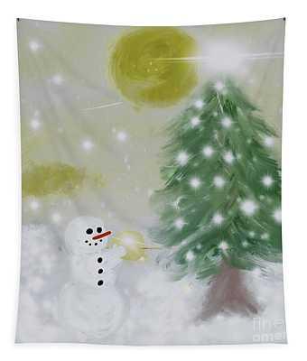 Snowman Tree Tapestry