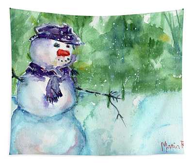 Snowman Watercolor Tapestry