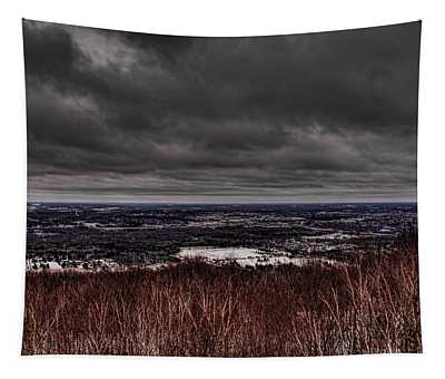 Snowstorm Clouds Over Rib Mountain State Park Tapestry