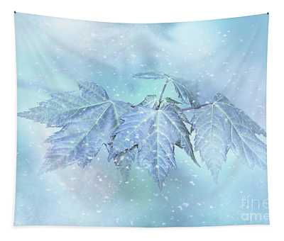 Snowy Baby Leaves Tapestry