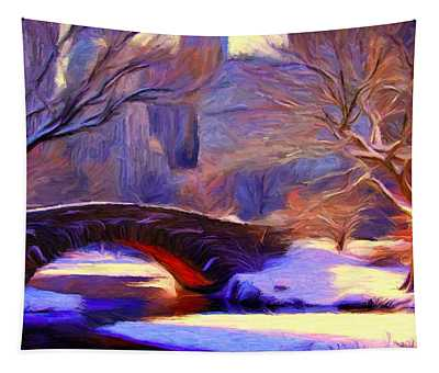 Snowy Central Park Tapestry