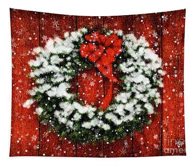 Snowy Christmas Wreath Tapestry