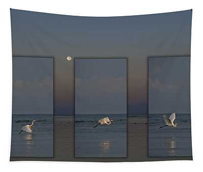 Snowy Egret Moon Tapestry