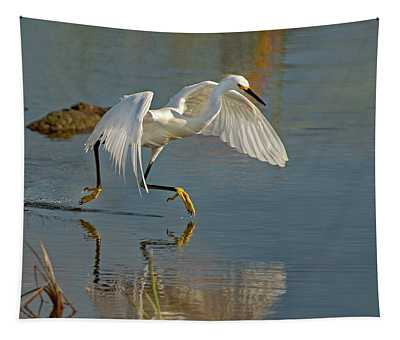 Snowy Egret On The Move Tapestry