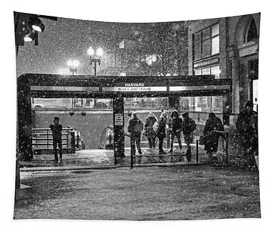 Snowy Harvard Square Night- Harvard T Station Black And White Tapestry