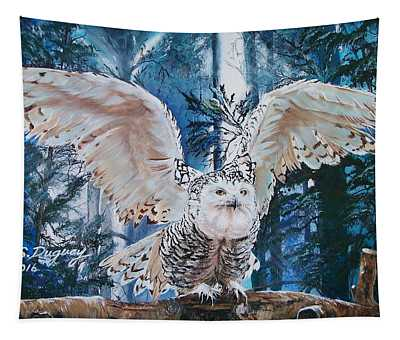 Snowy Owl On Takeoff  Tapestry