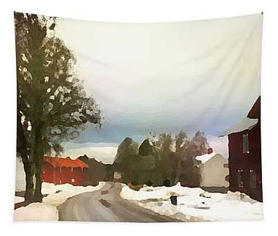 Tapestry featuring the digital art Snowy Street With Red House by Shelli Fitzpatrick
