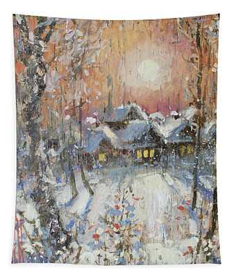 Snowy Village Tapestry