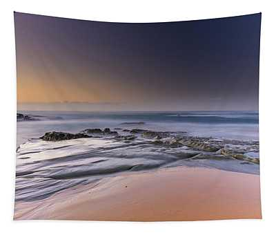 Soft And Rocky Sunrise Seascape Tapestry