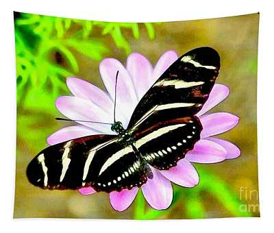 Soft And Wet Bwr Butterfly  Tapestry