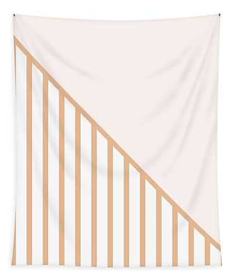 Soft Blush And Coral Stripe Triangles Tapestry