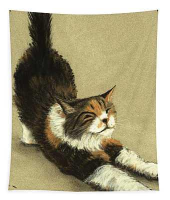 Tapestry featuring the painting Soft Kitty by Anastasiya Malakhova