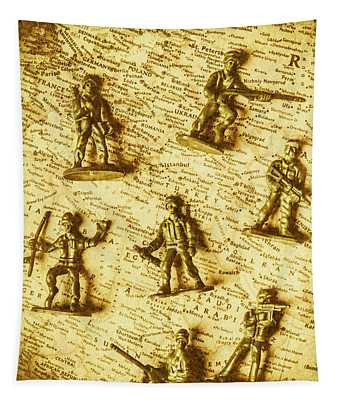 Soldiers And Battle Maps Tapestry