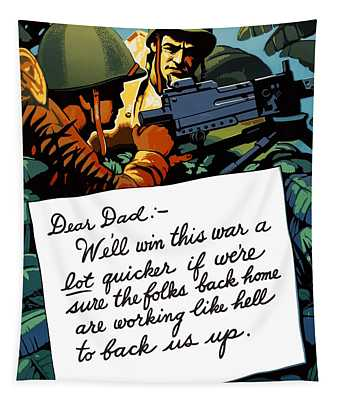 Soldier's Letter Home To Dad -- Ww2 Propaganda Tapestry