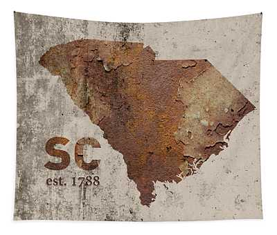 South Carolina State Map Industrial Rusted Metal On Cement Wall With Founding Date Series 010 Tapestry
