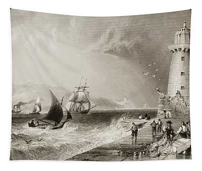 South-wall Lighthouse With Howth Hill Tapestry