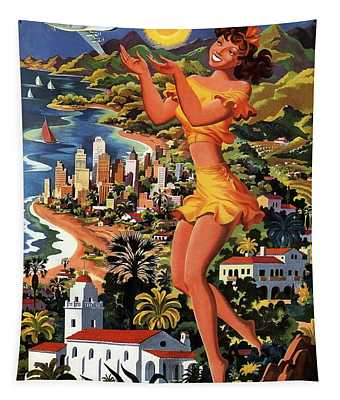 Southern California - United Air Lines - Retro Travel Poster - Vintage Poster Tapestry