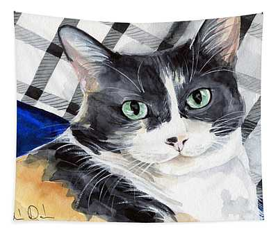 Southpaw - Calico Cat Portrait Tapestry