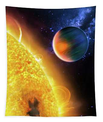 Tapestry featuring the photograph Space Image Extrasolar Planet Yellow Orange Blue by Matthias Hauser