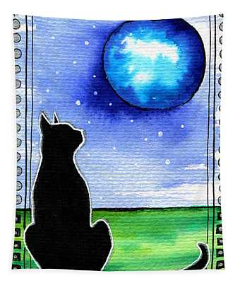 Sparkling Blue Bauble - Christmas Cat Tapestry