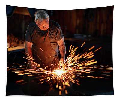 Sparks When Blacksmith Hit Hot Iron Tapestry