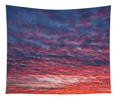 Spectacular Red Blue Sunset Sky Tapestry