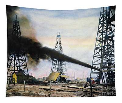Tapestry featuring the photograph Spindletop Oil Pool, C1906 by Granger