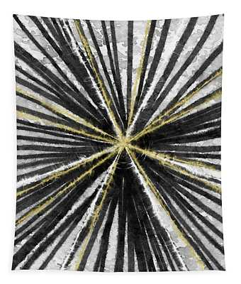 Spinning Black And Gold- Art By Linda Woods Tapestry